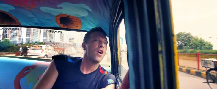 Coldplay's Chris Martin in our Taxi Fabric designed by Samya Arif for the 'Hymn for the weekend' video!