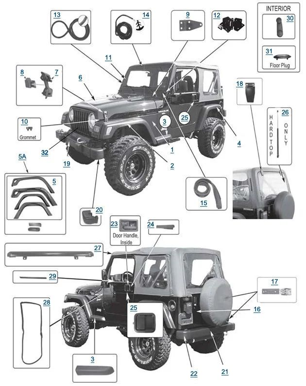 jeep wrangler top parts diagram
