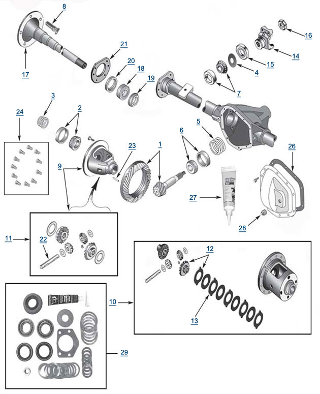 Jeep TJ Wrangler Model 44 Rear Axle Parts - Best Reviews  Prices at 4WP