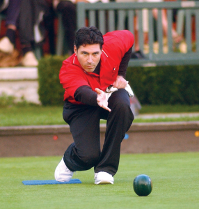 Roll the ball out a little like this, nice and low to the floor. Minus the intense facial expression.