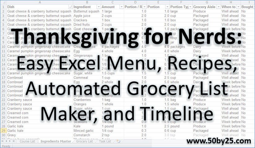 Thanksgiving for Nerds Easy Excel Menu, Recipes, Automated Grocery - grocery list spreadsheet