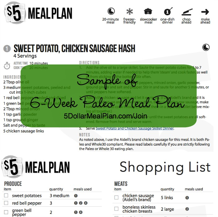 New 6-Week Paleo Meal Plan Available from The $5 Meal Plan - sample meal planning