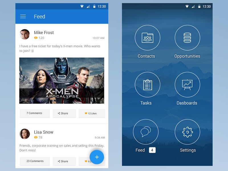 Free CRM Mobile App Template PSD - 72pxdesigns - Free App Template
