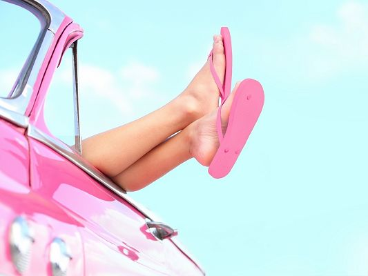 Beautiful Girls Picture Legs Portrait Pink Shoes Sweet