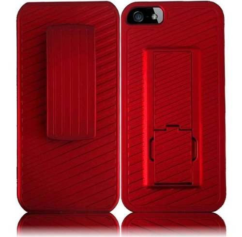 New Apple iPhone 5 Belt Clip Holster Case - RED Hard