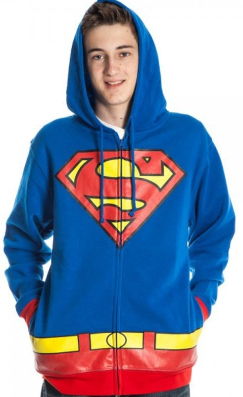 Superman Adult Costume Hoodie Hooded Sweatshirt