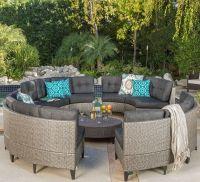 Currituck Outdoor Wicker Patio Furniture 10 Piece Black ...