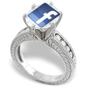 The Facebook logo on top of a diamond engagement ring