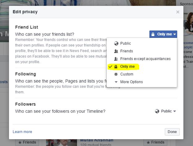 select-only-me-friends-privacy-setting