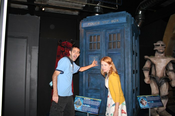The author and her husband in front of the Tardis