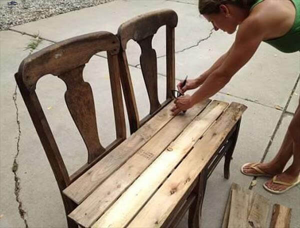 How To Make A Bench Out Of Pallets DIY Pallet Bench from Chairs | 99 Pallets