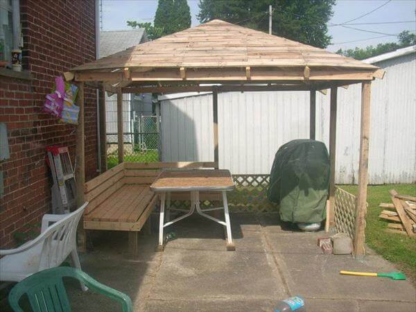 How To Make A Bench Out Of Pallets DIY Pallet Gazebo - Outdoor Pallet Ideas | 99 Pallets
