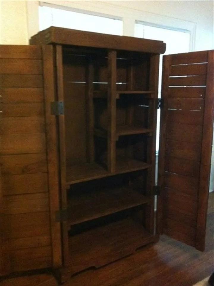 Diy Pallet Cabinet For A Big Storage 99 Pallets