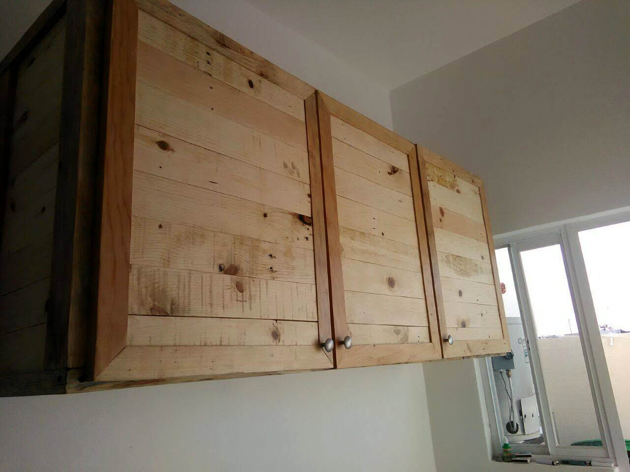 Cupboards Made From Pallets Set Of 3 Wall Hanging Kitchen Cabinets Made Of Pallets