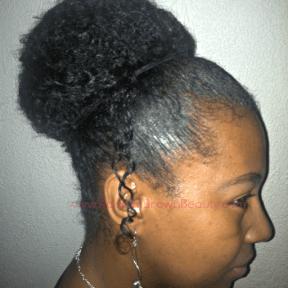 tangled hair in a bun