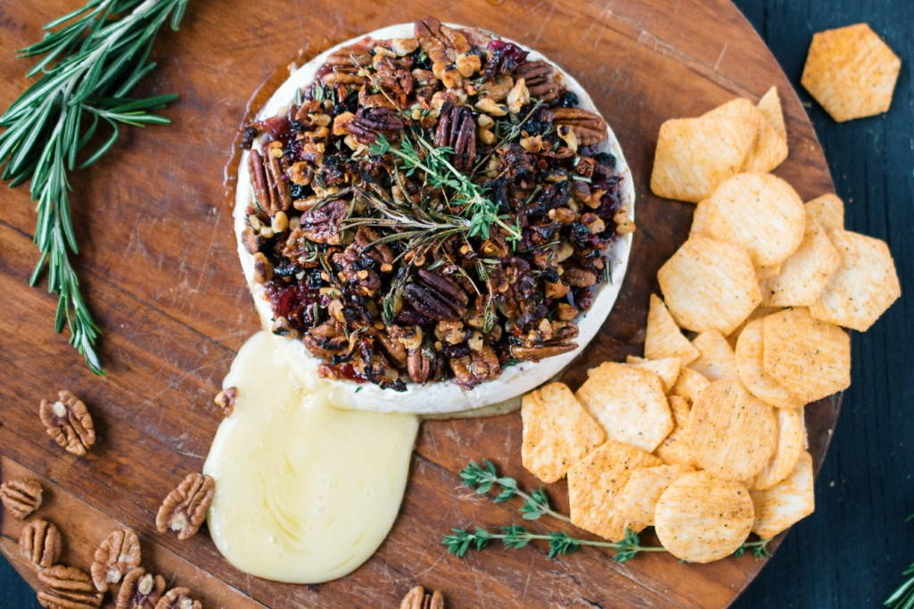 Baked Brie with Pecans, Cranberries + Walnuts