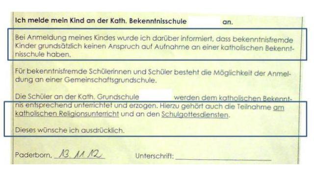 Bekenntniserklärung Bonifatiusschule Paderborn