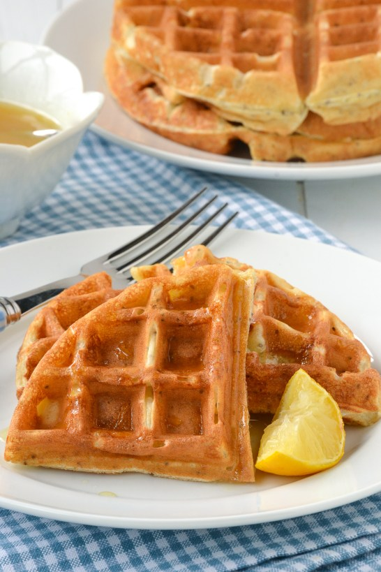 Lemon Chia Seed Waffles with Honey Lemon Syrup