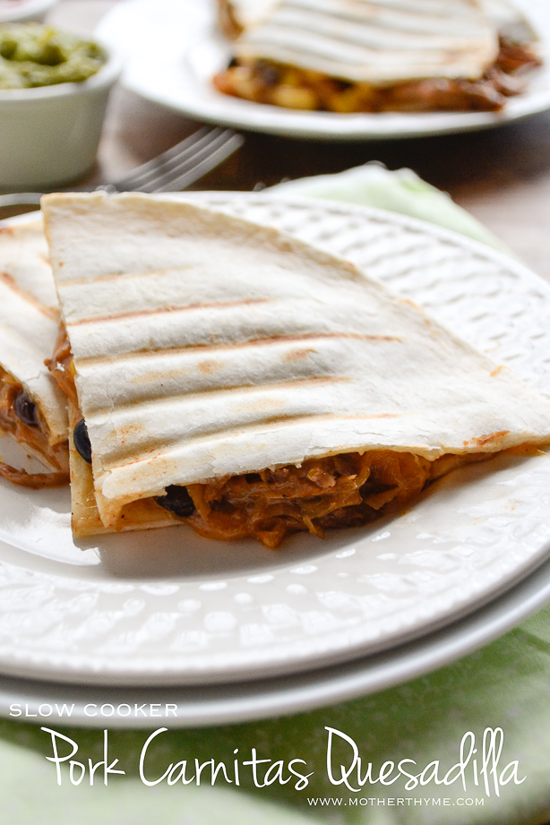 Slow Cooker Pork Carnitas Quesadilla | www.motherthyme.com