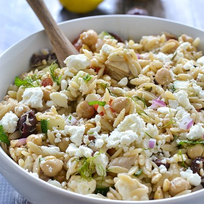 Mediterranean Orzo Salad with Tuna and Chickpeas