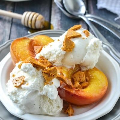 Roasted White Peaches with Honeycomb and Vanilla Ice Cream