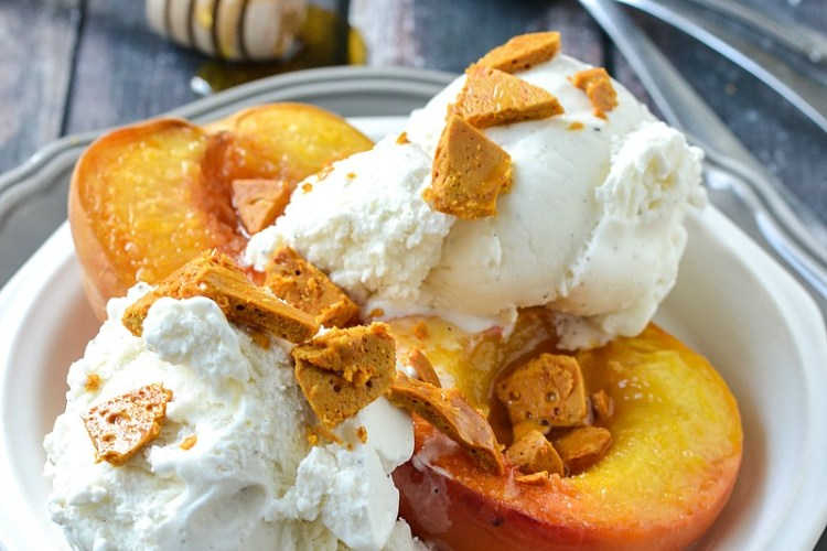 Roasted White Peaches with Honeycomb and Vanilla Ice Cream