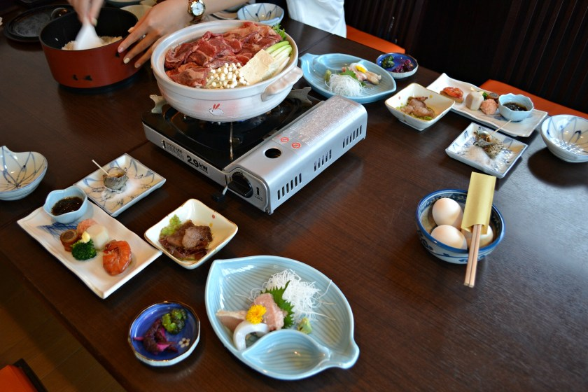 Traditoinal japanese breakfast near Mnt Fuji