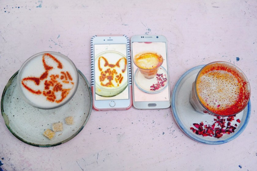 best caffe art in London, frenchie coffee art