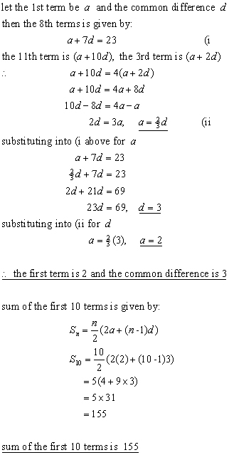 ARITHMETIC PROGRESSIONS,sequences  series from A-level Maths Tutor