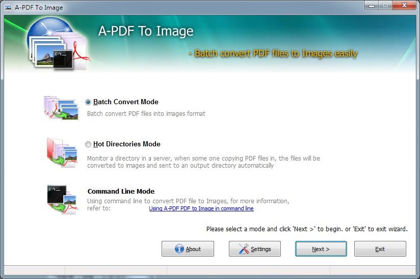 Batch convert PDF to jpg, png, tiff, bmp A-PDF