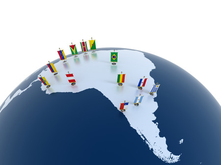 42121342 - south american continent with country flags - aacbi