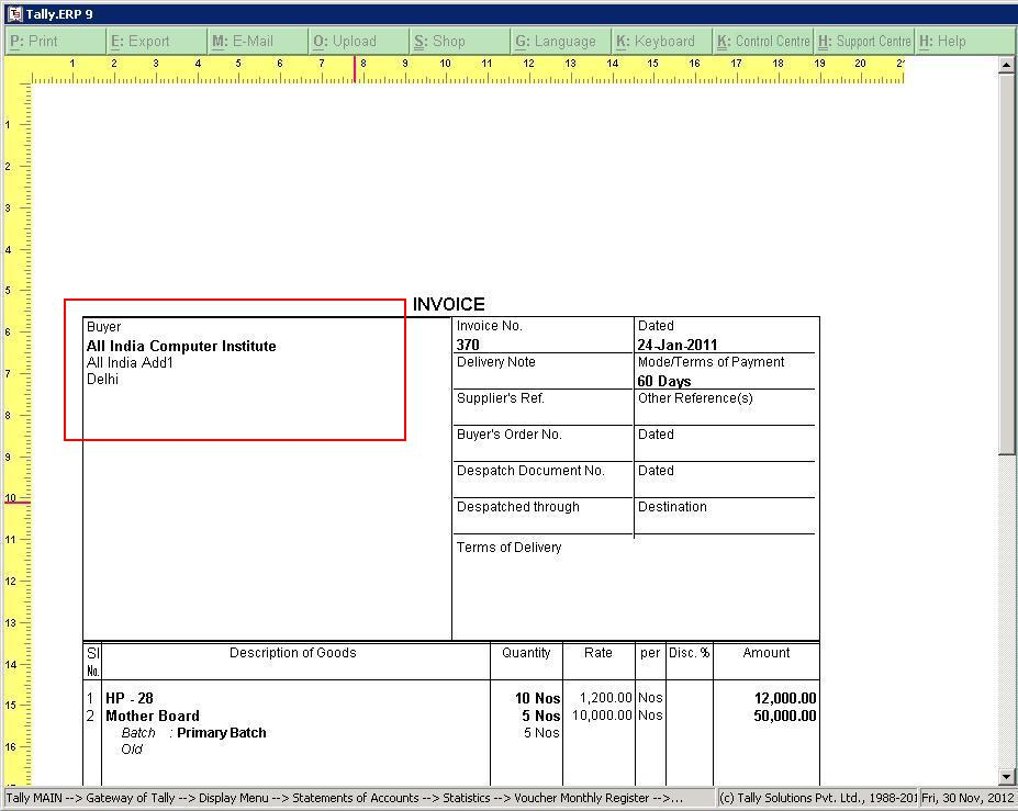 Tally Customization TallyERP 9 Sales, Support, Implementation - printed invoices