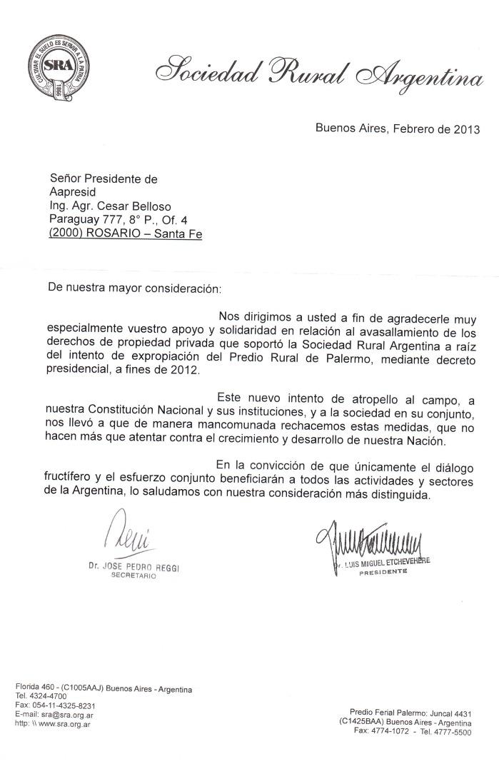 Aapresid » Carta de la SRA