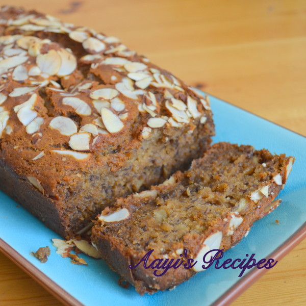 Eggless Banana Cake (With Wheat and Honey) Or Banana Nut Bread