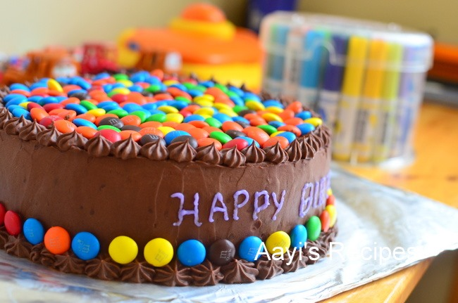 Cake Images With Gems : M & M (Gems) Cake with Chocolate Buttercream - Aayis Recipes