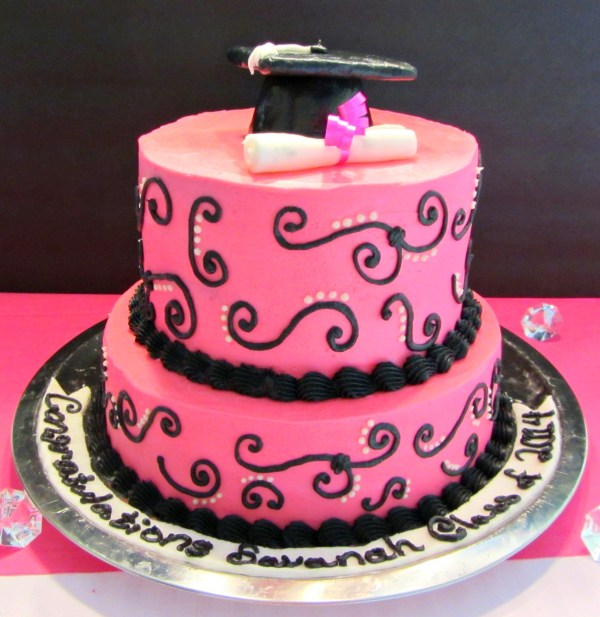 Pink and Black Graduation Cake - A baJillian Recipes