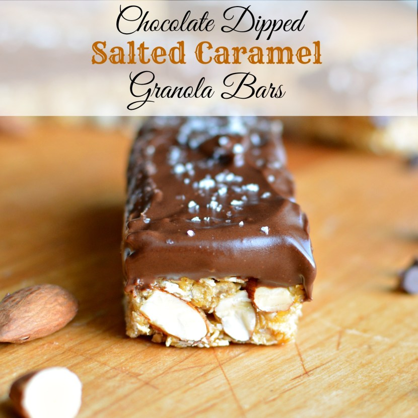 Chocolate Dipped Salted Caramel Granola Bars | A baJillian Recipes