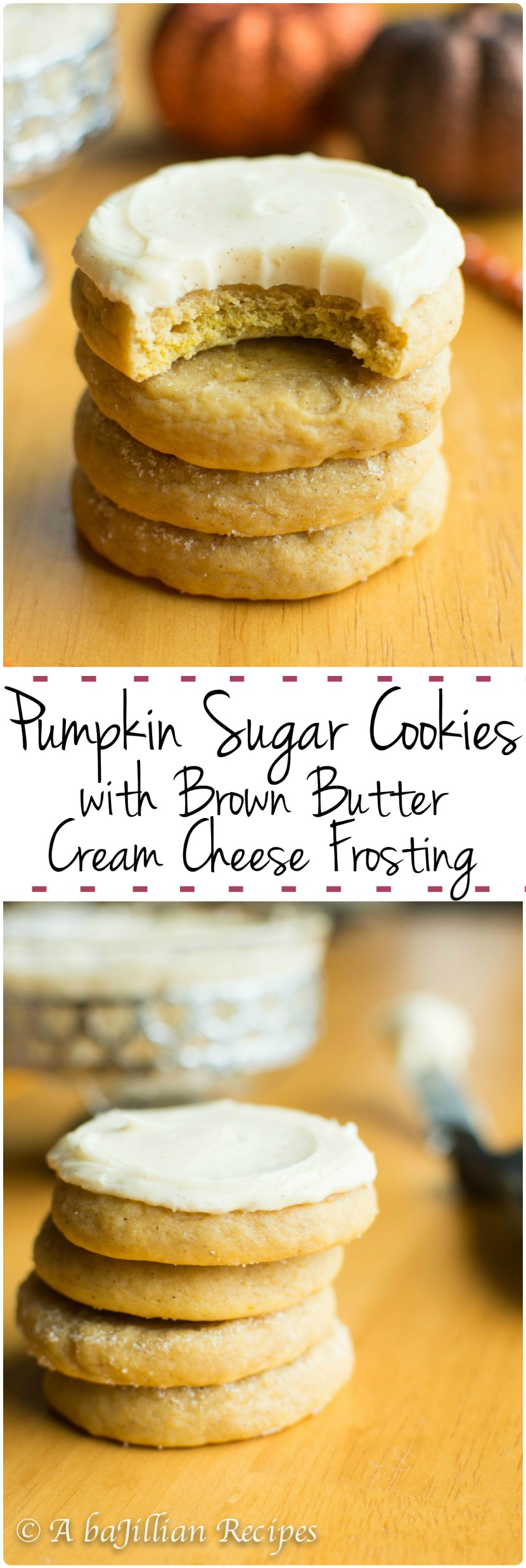 Pumpkin Sugar Cookies w/ Brown Butter Cream Cheese Frosting | A baJillian Recipes