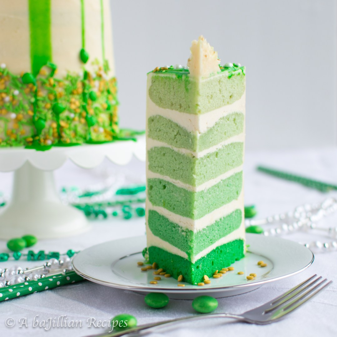 Six gorgeously green layers of soft and pillowy Irish Cream cake, layered with silky Irish Cream Swiss Meringue Buttercream!