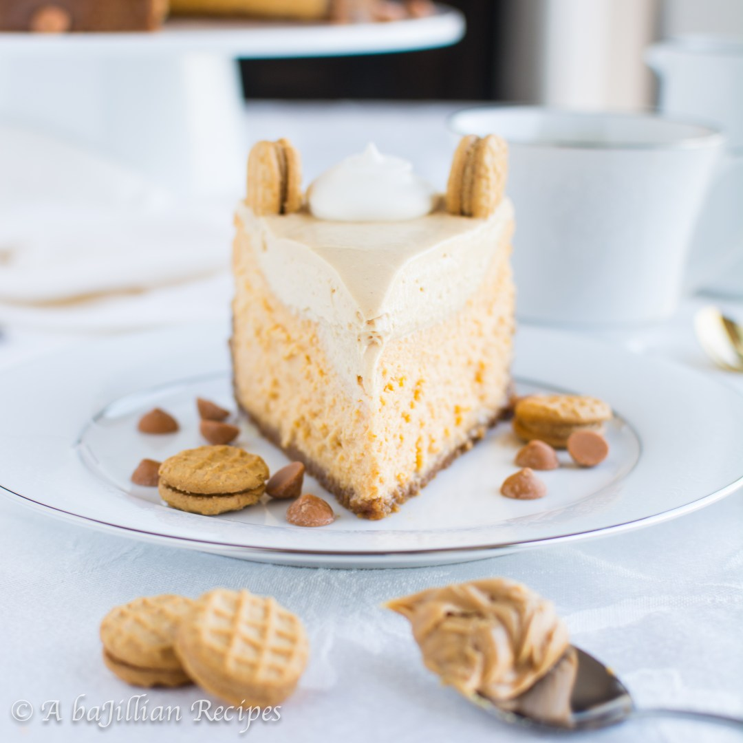 Light and creamy butterscotch cheesecake in a Nutter Butter cookie crust, topped with a smooth peanut buttery mousse!