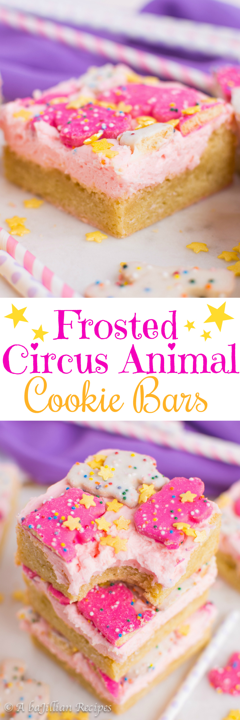 Frosted Circus Animal Cookie Bars (collage)