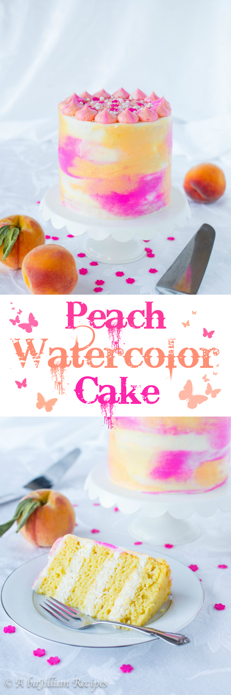 Peach Watercolor Cake (collage)
