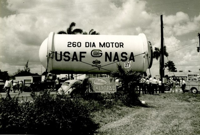 The rocket motor as it arrived into Homestead, 1965.