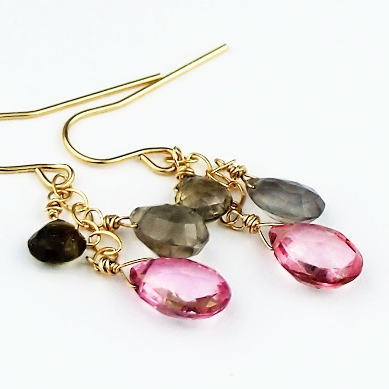 Pink Topaz Earrings with Rare Sillimanite Natural Gemstone