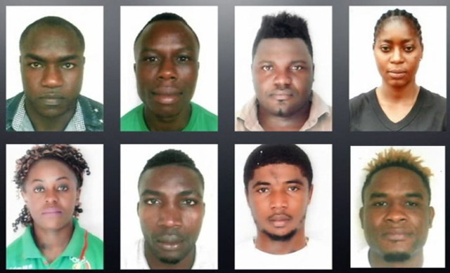 Composite photo of eight missing Cameroon athletes from Commonwealth Games Village on Queensland's Gold Coast.