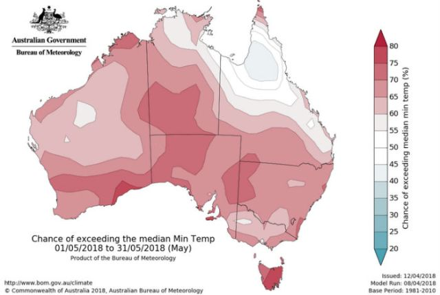 Map showing the chance of exceeding the median minimum temperate in May