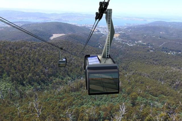 An artist impression of Mount Wellington cable car