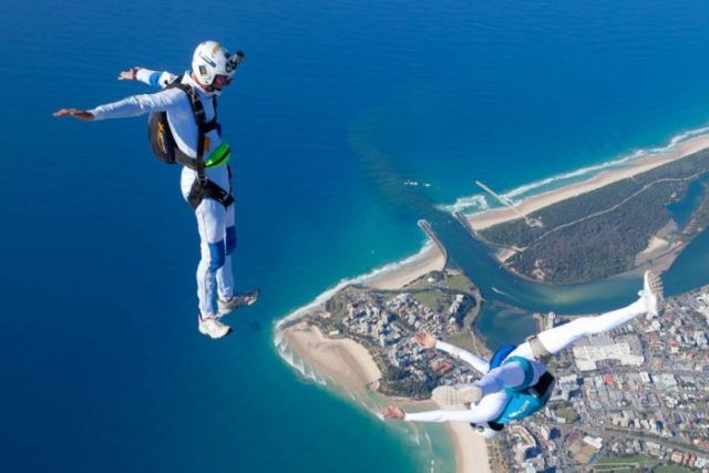 Archie Jamieson and Alana Bertram skydive over the Gold Coast.