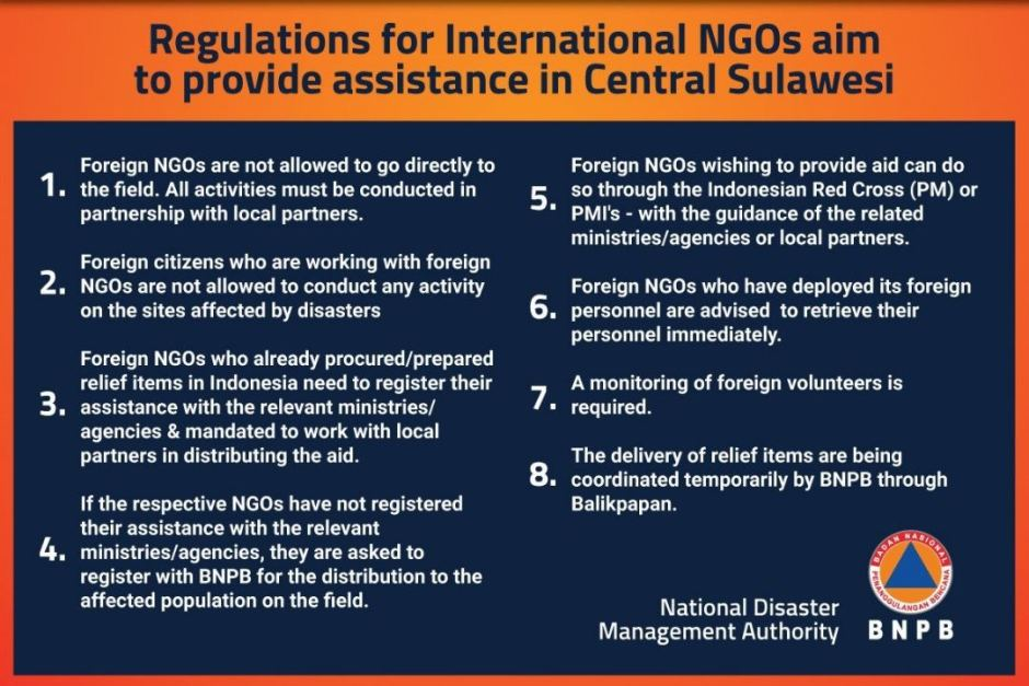 Indonesia 0027s National Disaster Management Authority advice to NGOs - disaster relief flyer