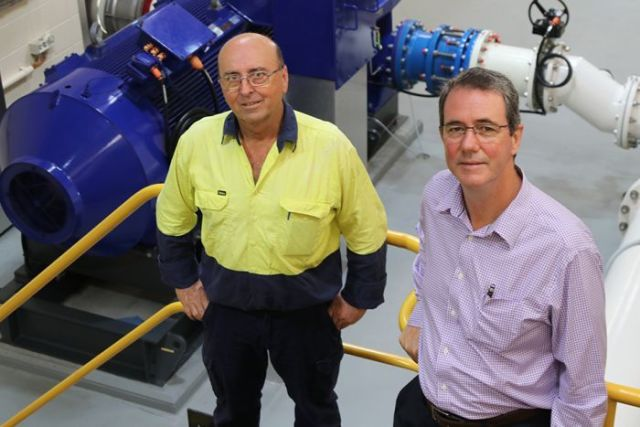 Russell Ratcliffe and Hal Morris inside the Gold Coast Sand Bypass System pump room